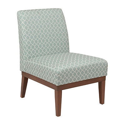 Aqua Quatrefoil Slipper Chair