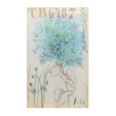 Blue Flower Sketch Canvas Art Print
