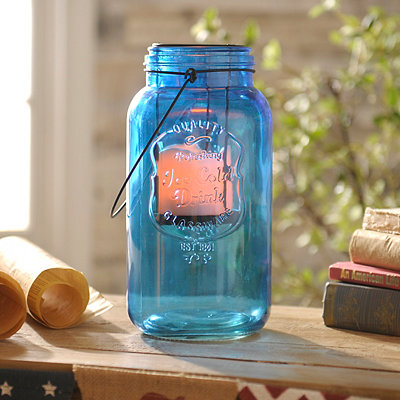 Cobalt Mason Jar LED Lantern