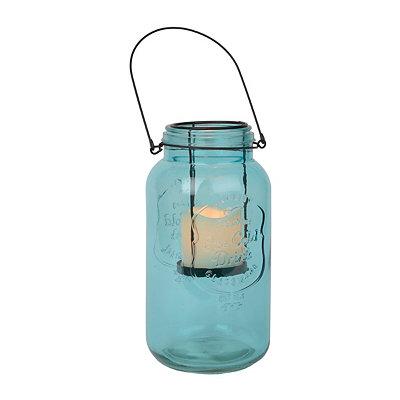 Turquoise Mason Jar LED Lantern