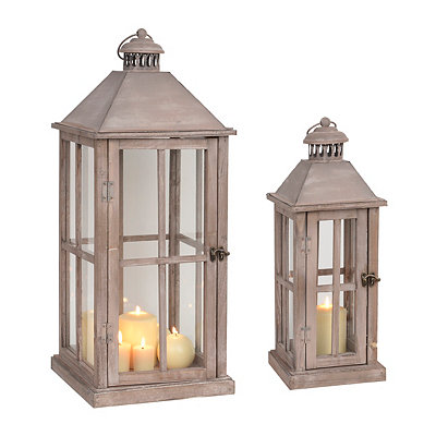 Brown Cape Cod Wood Lanterns, Set of 2