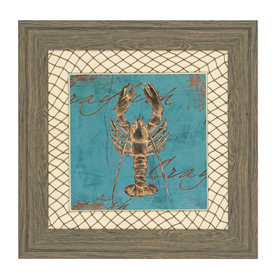 Turquoise Crayfish Framed Art Print