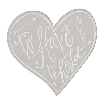 Silver Heart to Have and to Hold Wooden Plaque