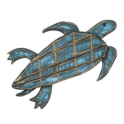 Distressed Blue Sea Turtle Wooden Plaque