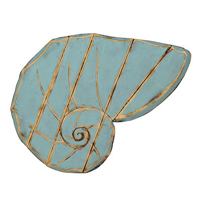 Distressed Blue Conch Shell Wooden Plaque