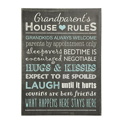 Grandparent's House Rules Canvas Plaque