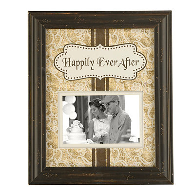 Burlap Happily Ever After Picture Frame, 4x6