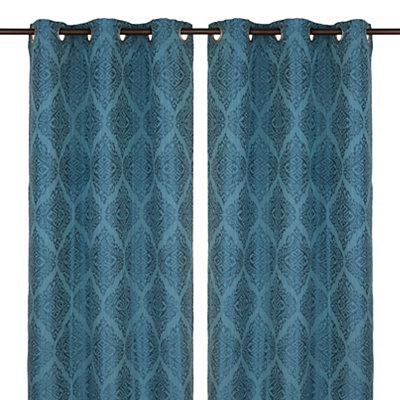 Felicity Teal Curtain Panel Set, 84 in.