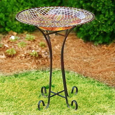Fire Flower Stained Glass Bird Bath