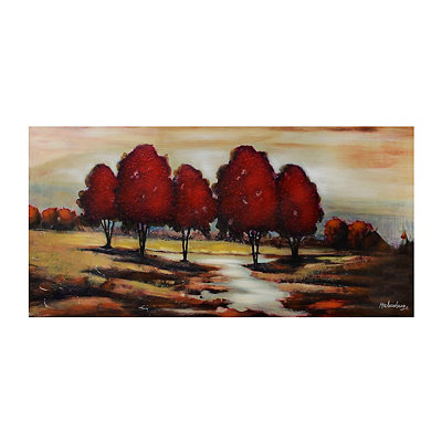 Red Tree Landscape Canvas Art Print