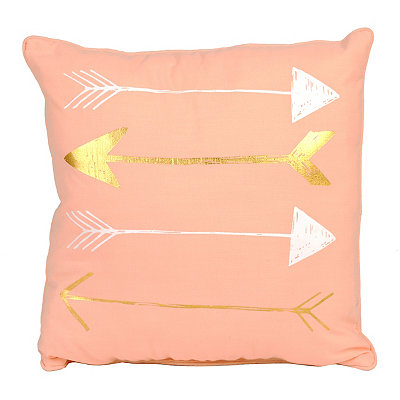 Pink Metallic Gold Arrow Pillow