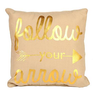 Metallic Gold Follow Your Arrow Pillow