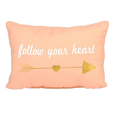 Pink Metallic Gold Follow Your Heart Pillow