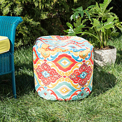 Ikat Fresca Indoor Outdoor Pouf