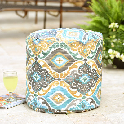 Aqua Ikat Indoor Outdoor Pouf