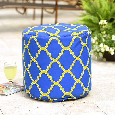 Blue Geometric Indoor Outdoor Pouf