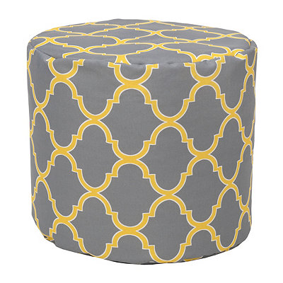 Gray Geometric Indoor Outdoor Pouf