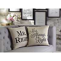 Set of 2 Mr. and Mrs. Always Right Pillows