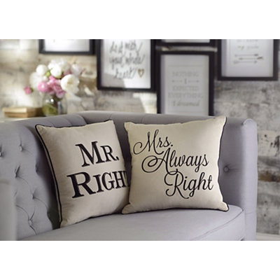 Mr. and Mrs. Always Right Pillows, Set of 2
