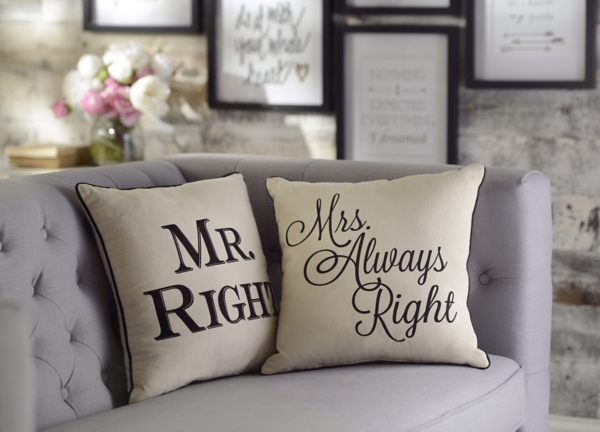 mr and mrs always right pillows set of 2