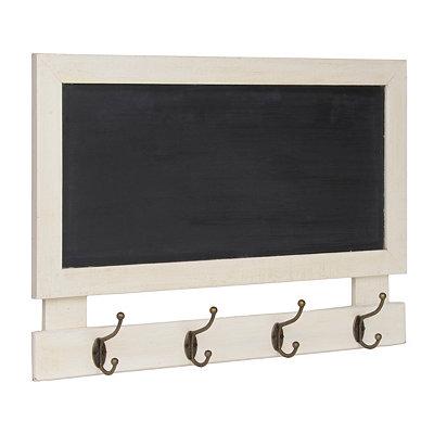 White Wooden Chalkboard Wall Hooks