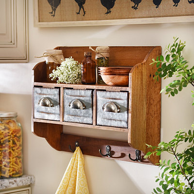 Rustic Wooden Shelf Organizer