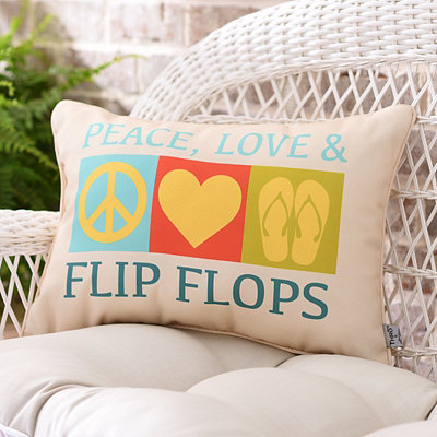 Peace, Love, and Flip Flops Outdoor Accent Pillow