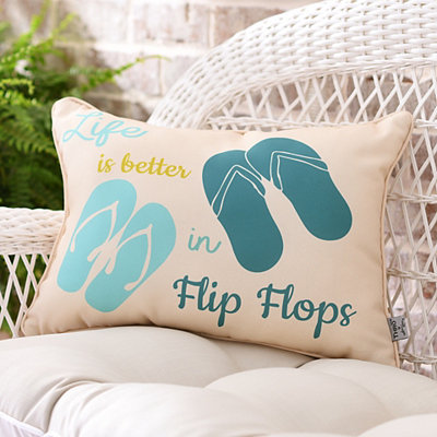 Blue Flip Flops Outdoor Accent Pillow