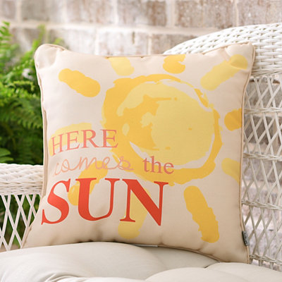 Coral Here Comes The Sun Outdoor Accent Pillow