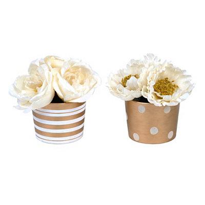 Rose & Peony in Gold Pot Arrangement