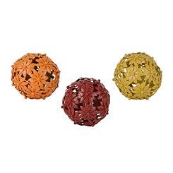 Metal Flower Orbs, Set of 3