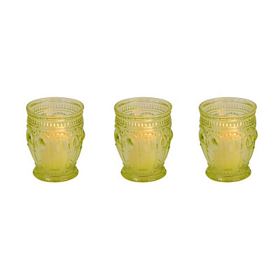 Green Antique Glass Votive Candle Holder