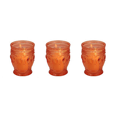 Orange Antique Glass Votive Candle Holder