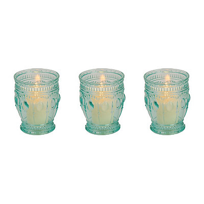Turquoise Antique Glass Votive Candle Holder