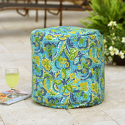 Turquoise Destiny Indoor Outdoor Pouf