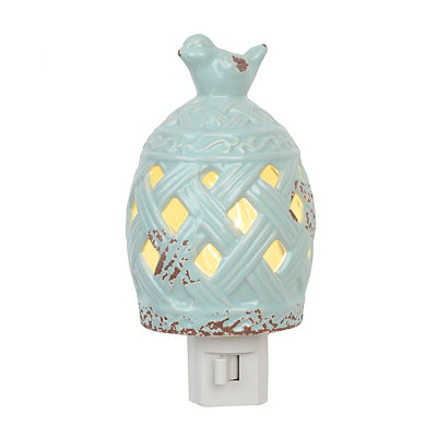 Light Blue Birdcage Ceramic Night Light