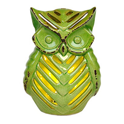 Green Ceramic Owl Night Light