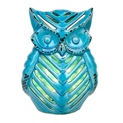 Turquoise Ceramic Owl Night Light