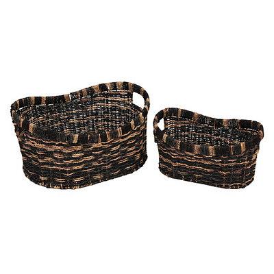 Two-Tone Woven Baskets, Set of 2