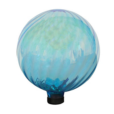 Ribbed Aqua Glass Gazing Ball