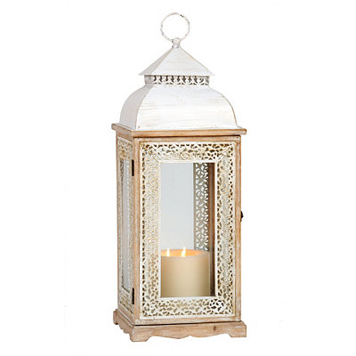 Large White Pierced Metal Lantern
