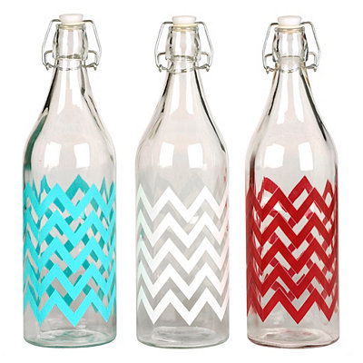 Clear Glass Chevron Bottles with Lid