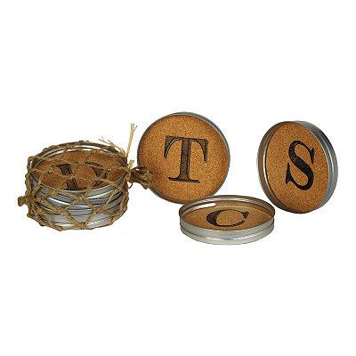 Cork Monogram Lid Coasters, Set of 4