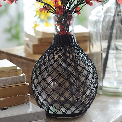 Brown Vintage Rattan Glass Vase