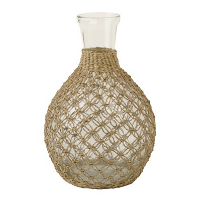 Tan Vintage Rattan Glass Vase