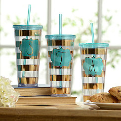 Gold Striped Monogram Tumbler