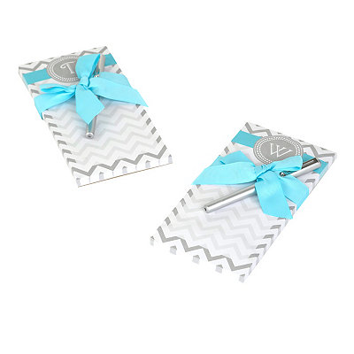 Gray Chevron Monogram Notepads