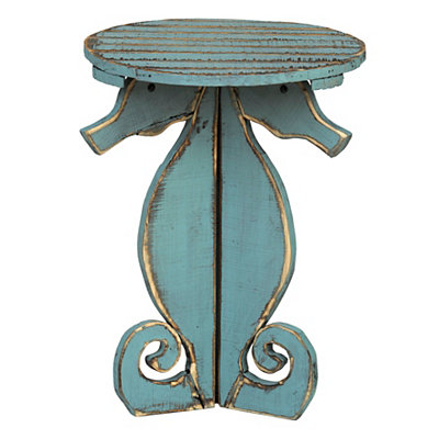 Distressed Blue Seahorse Side Table