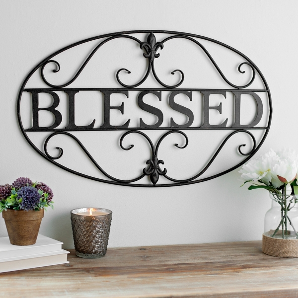 Fleur-de-Lis Blessed Metal Plaque  sc 1 st  Kirklands & Metal Art | Metal Wall Art | Kirklands