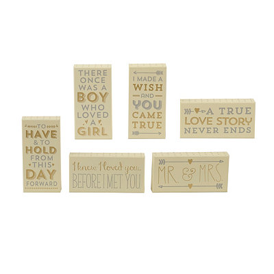 Metallic Wedding Word Blocks